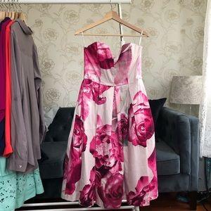 (NEW) ASOS Strapless Floral Midi Dress w Pockets